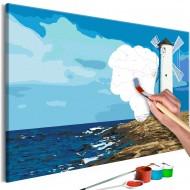 Tableau à peindre par soimême  Lighthouse with Windmill