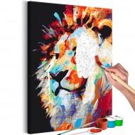 Tableau à peindre par soimême  Portrait of a Colourful Lion