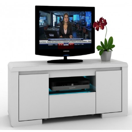 meuble tv blanc 2 portes 1 tiroir eclairage led bleu beaux meubles pas chers. Black Bedroom Furniture Sets. Home Design Ideas