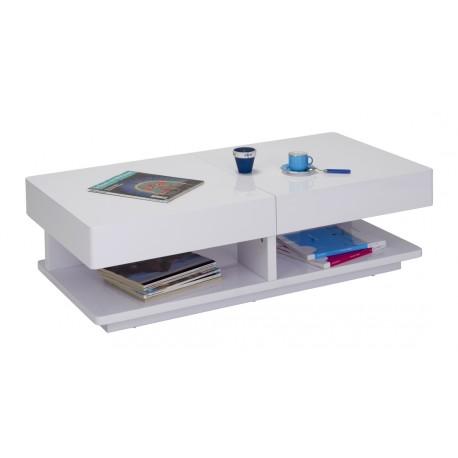 Table Basse Laquée Blanche Plateaux Coulissants