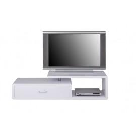 Meuble TV Laqué Blanc 1 Tiroir