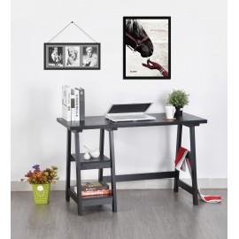 Bureau Tréteau Noir 2 Etagères 119 cm