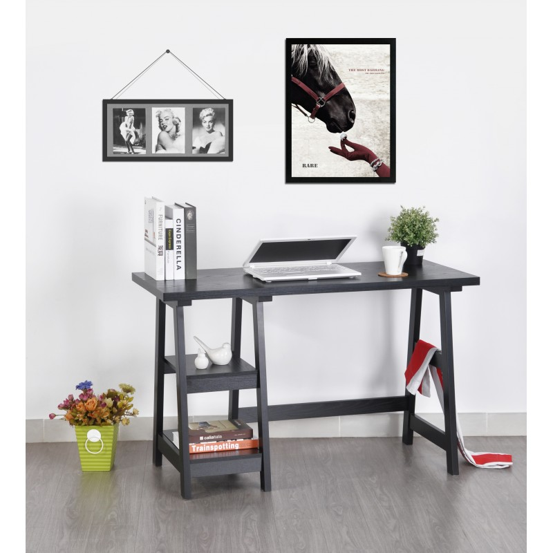 bureau tr teau noir 2 etag res 119 cm. Black Bedroom Furniture Sets. Home Design Ideas