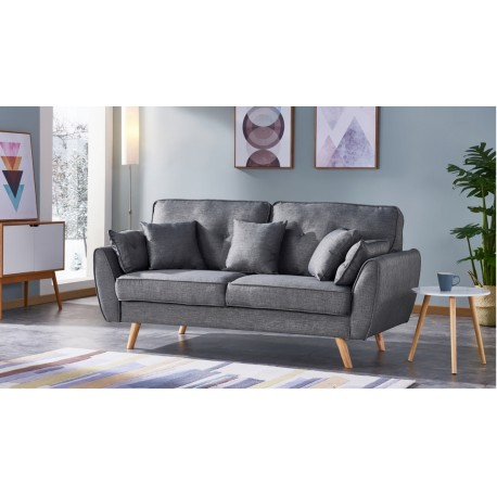 canap 3 places tissu gris pieds bois 5 coussins. Black Bedroom Furniture Sets. Home Design Ideas