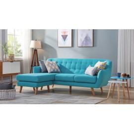 Canapé d'Angle Réversible Tissu Bleu Pieds Bois