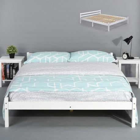 lit 2 places 140 x 190 cm firenze blanc avec sommier. Black Bedroom Furniture Sets. Home Design Ideas