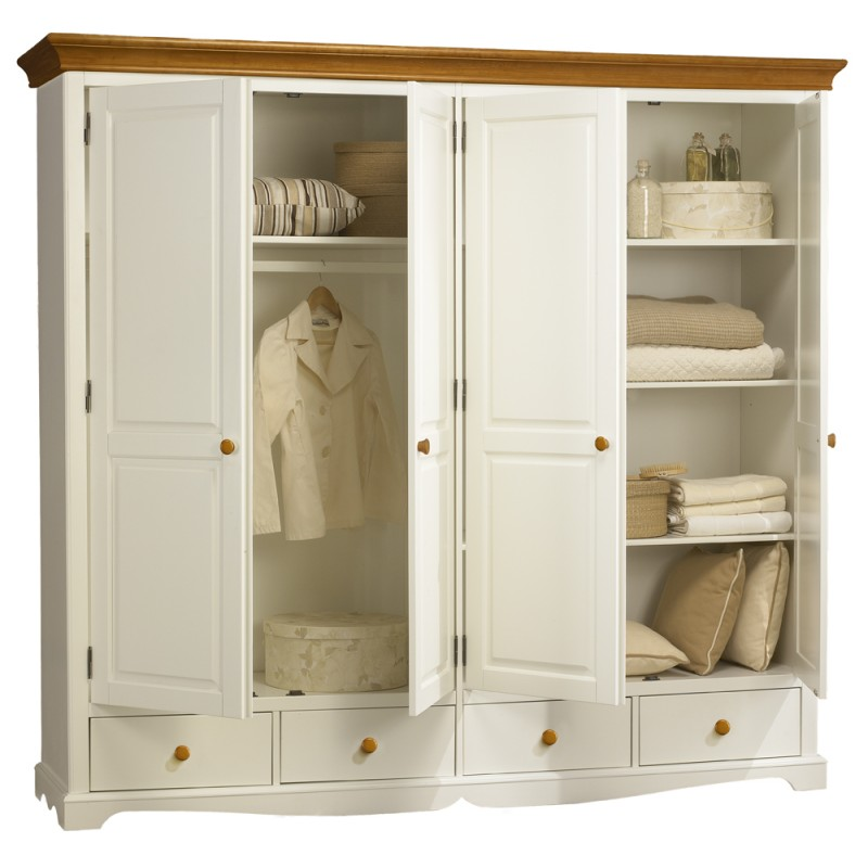 grande armoire penderie blanche et miel beaux meubles pas chers. Black Bedroom Furniture Sets. Home Design Ideas