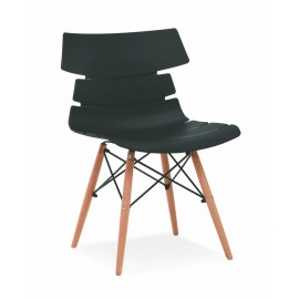 2 Chaises de Séjour Coque Design Noires Pieds Bois