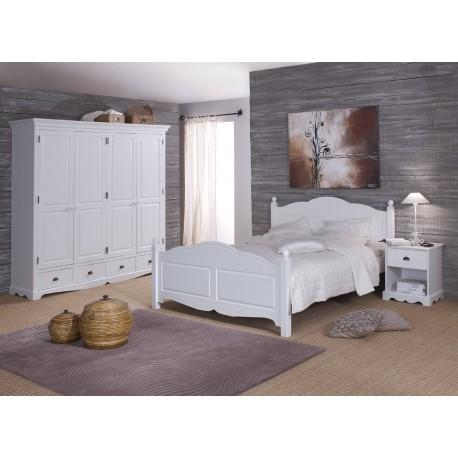 Chambre complète lit 140 + Armoire 4 portes + chevet blanc 40140