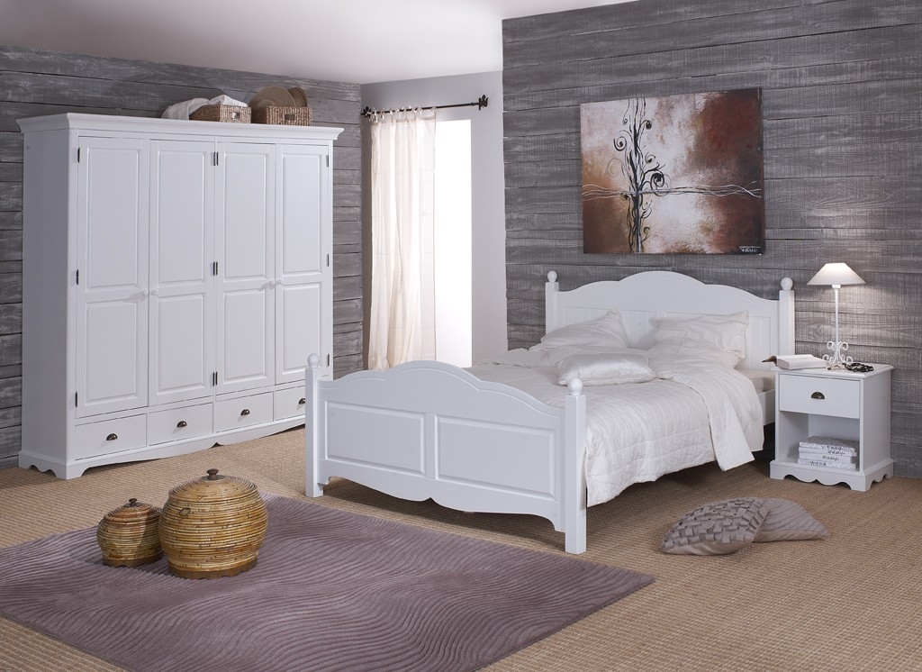 tagre chambre chambre blanche complte lit 140 armoire. Black Bedroom Furniture Sets. Home Design Ideas