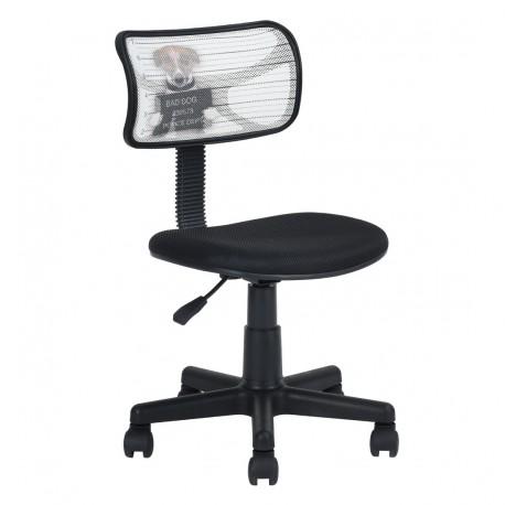Chaise de Bureau Noire et Chien