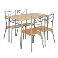 Table Repas 110 x 70 et 4 Chaises Métal Hêtre