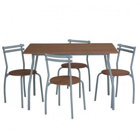 Table Repas 120 x 80 et 4 Chaises Noyer