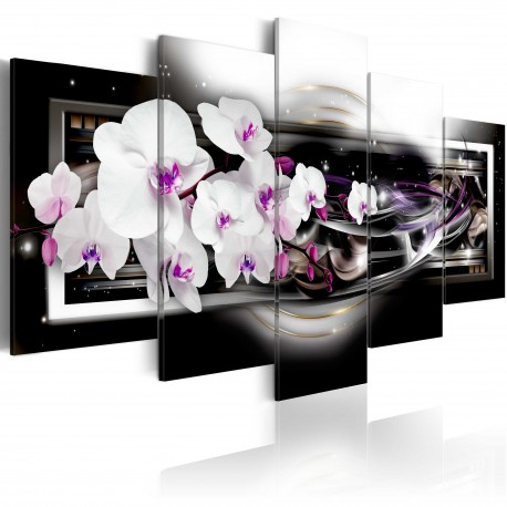 Tableau  Orchids on a black background