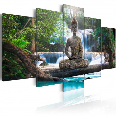 Tableau  Buddha and waterfall