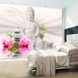 Papier peint - Bouddha et orchidées